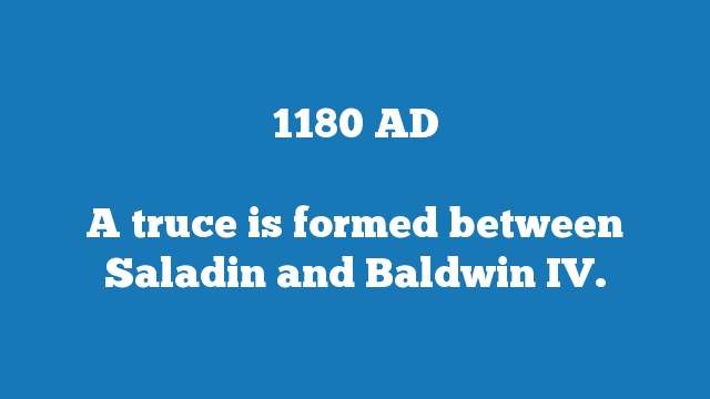 A truce is formed between Saladin and Baldwin IV.