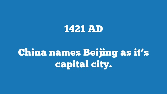 China names Beijing as it's capital city.