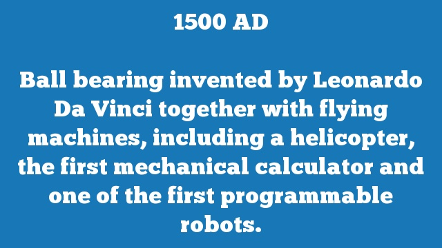 Ball bearing invented by Leonardo Da Vinci together with flying machines, including a helicopter, the first mechanical calculator and one of the first programmable robots.