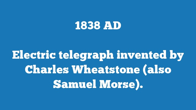Electric telegraph invented by Charles Wheatstone (also Samuel Morse).