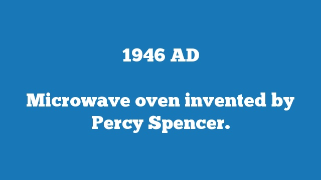 Microwave oven invented by Percy Spencer.
