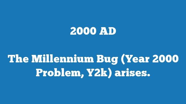 The Millennium Bug (Year 2000 Problem, Y2k) arises.