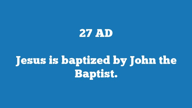 Jesus is baptized by John the Baptist.