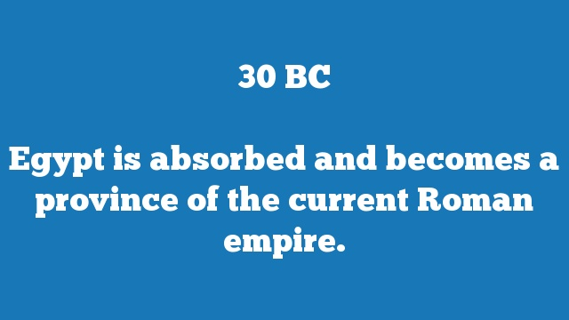 Egypt is absorbed and becomes a province of the current Roman empire.