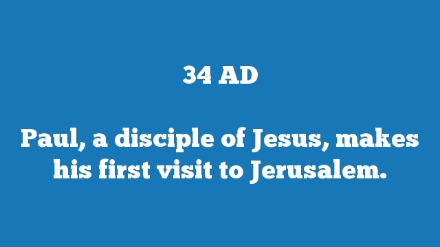 Paul, a disciple of Jesus, makes his first visit to Jerusalem.