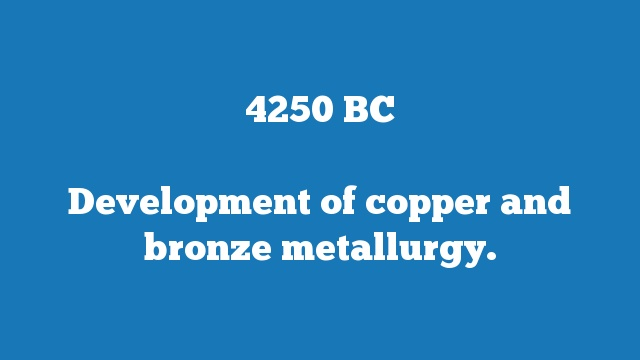 Development of copper and bronze metallurgy.