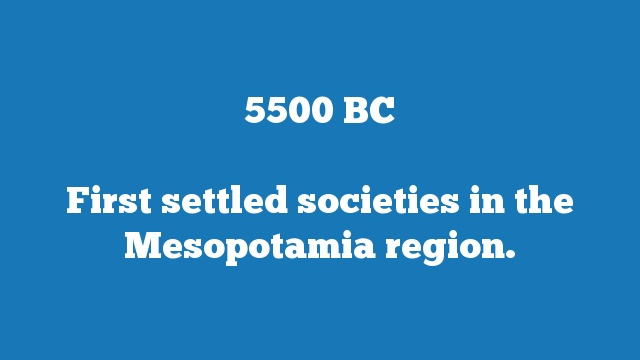 First settled societies in the Mesopotamia region.