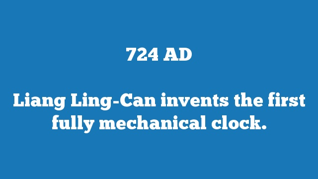 Liang Ling-Can invents the first fully mechanical clock.
