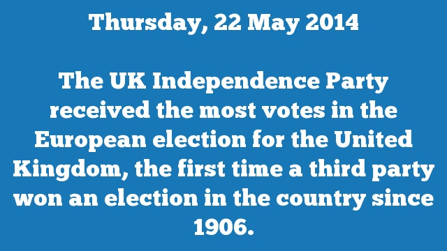 The UK Independence Party received the most votes in the European election for the United Kingdom, the first time a third party won an election in the country since 1906.