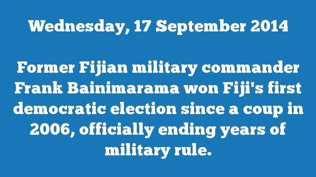 Former Fijian military commander Frank Bainimarama won Fiji's first democratic election since a coup in 2006, officially ending years of military rule.