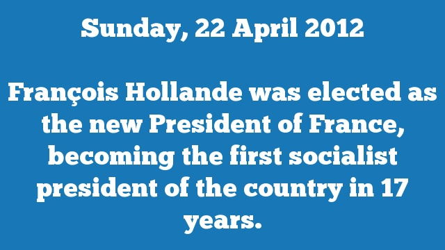 François Hollande was elected as the new President of France, becoming the first socialist president of the country in 17 years.