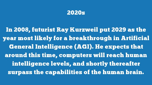 In 2008, futurist Ray Kurzweil put 2029 as the year most likely for a breakthrough in Artificial General Intelligence (AGI). He expects that around this time, computers will reach human intelligence levels, and shortly thereafter surpass the capabilities of the human brain.