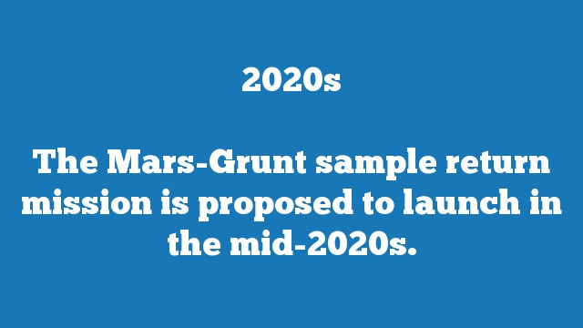 The Mars-Grunt sample return mission is proposed to launch in the mid-2020s.