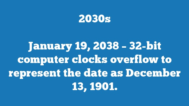 January 19, 2038 – 32-bit computer clocks overflow to represent the date as December 13, 1901.