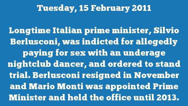 Longtime Italian prime minister, Silvio Berlusconi, was indicted for allegedly paying for sex with an underage nightclub dancer, and ordered to stand trial. Berlusconi resigned in November and Mario Monti was appointed Prime Minister and held the office until 2013.