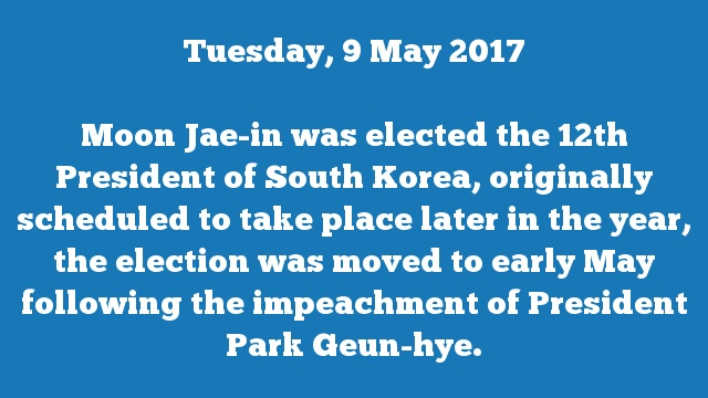 Moon Jae-in was elected the 12th President of South Korea, originally scheduled to take place later in the year, the election was moved to early May following the impeachment of President Park Geun-hye.